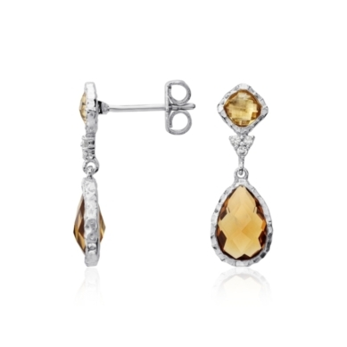 Madeira Citrine, Citrine, and White Topaz Dangle Earrings in Sterling Silver