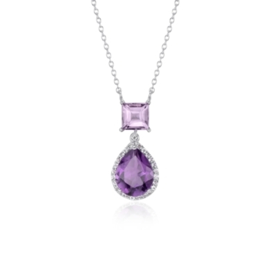 Lavender Amethyst and Amethyst Teardrop Pendant in Sterling Silver