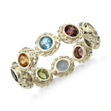 Multi-Colored Confetti Eternity Ring in 14k Yellow Gold