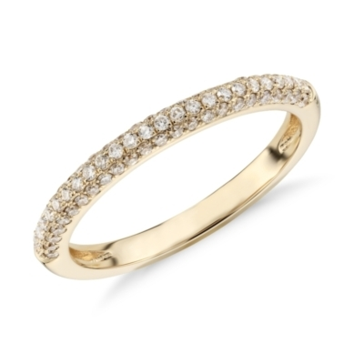 Trio Micropave Diamond Wedding Ring in 18K Yellow Gold (1/3 ct. tw.)
