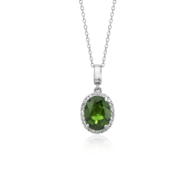 Oval Chrome Diopside and White Topaz Oval Halo Pendant in Sterling Silver