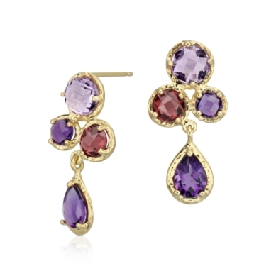 Lavender Amethyst and Rhodolite Drop Earrings in 14k Yellow Gold