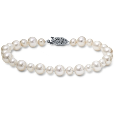 Freshwater Cultured Pearl Garland Bracelet with 14k White Gold