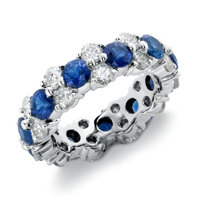 Sapphire and Diamond Garland Eternity Ring in Platinum (2 1/4 ct. tw.)