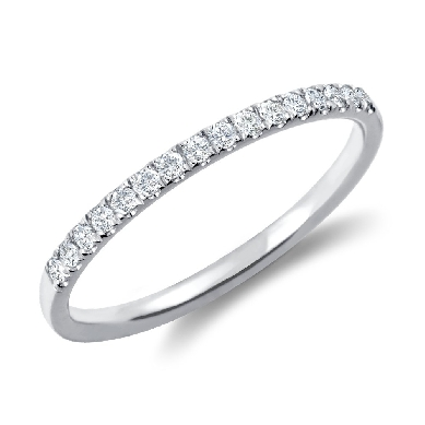 Petite Cathedral Pave Diamond Ring in 18k White Gold (1/6 ct. tw.)