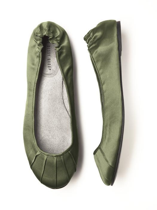 CLOSEOUT - Bridesmaid Ballet Flats Rubber Sole in moss