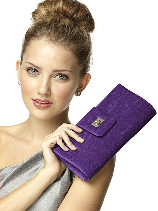 Dupioni Tear Drop Rectangle Clutch in majestic