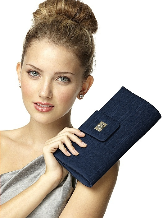 Dupioni Tear Drop Rectangle Clutch in midnight
