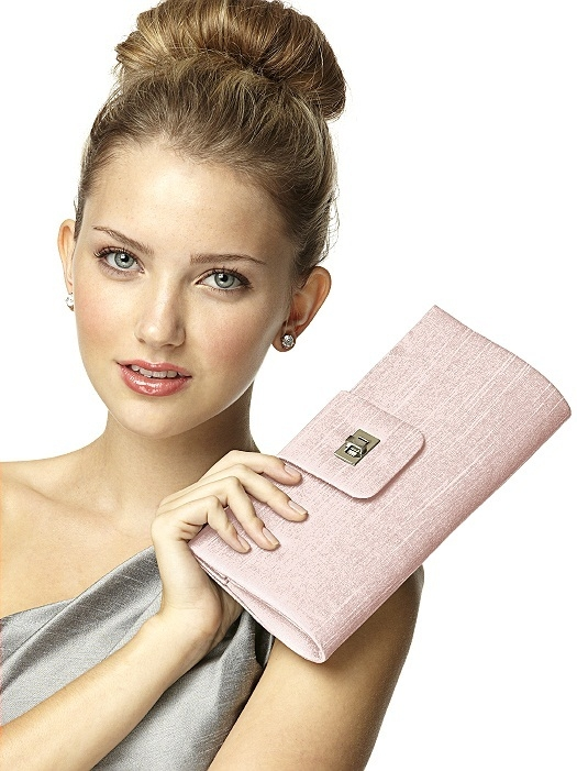 Dupioni Tear Drop Rectangle Clutch in pearl pink