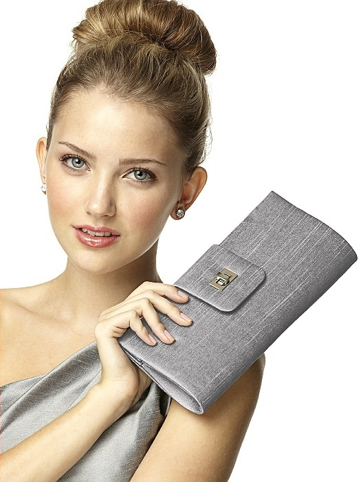 Dupioni Tear Drop Rectangle Clutch in quarry