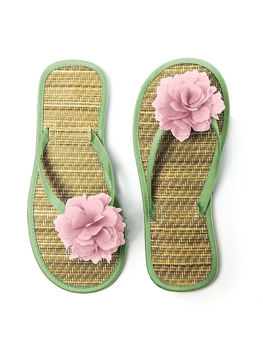 Flower Trimmed Bridesmaid and Bridal Flip Flop in apple slice