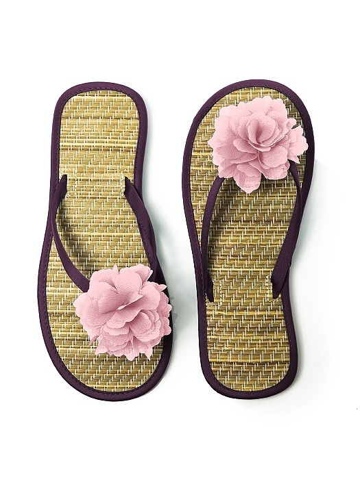 Flower Trimmed Bridesmaid and Bridal Flip Flop in aubergine