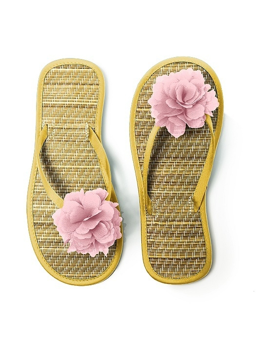 Flower Trimmed Bridesmaid and Bridal Flip Flop in marigold