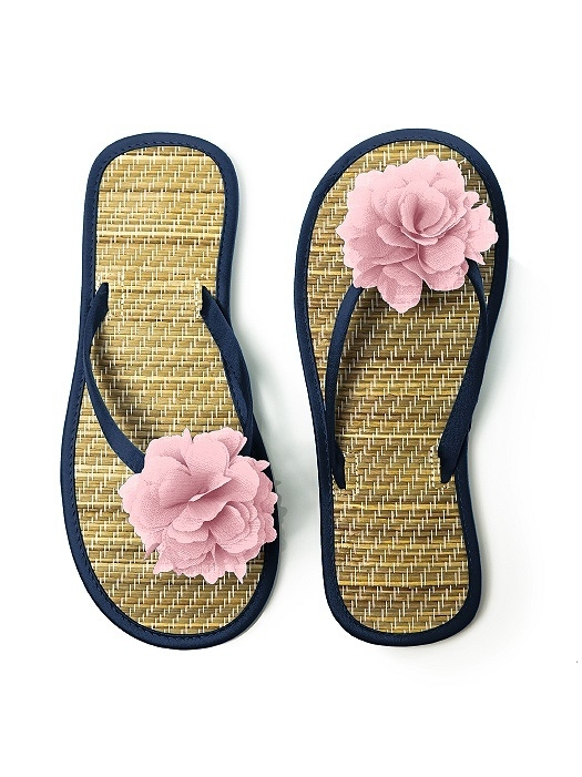 Flower Trimmed Bridesmaid and Bridal Flip Flop in midnight