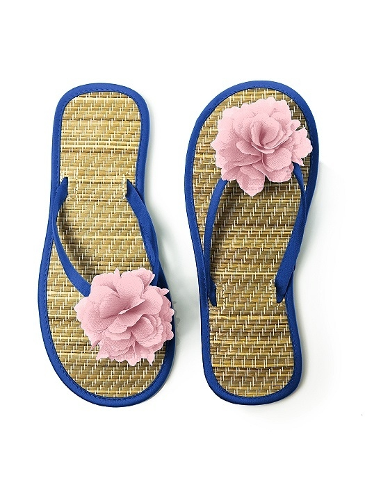 Flower Trimmed Bridesmaid and Bridal Flip Flop in sapphire