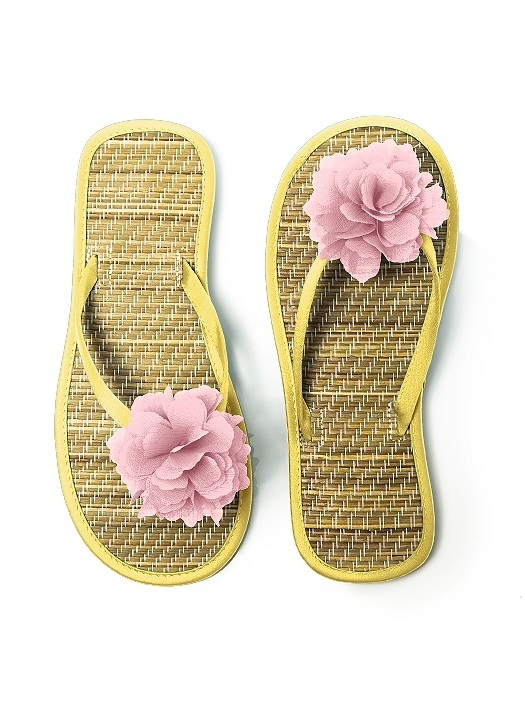 Flower Trimmed Bridesmaid and Bridal Flip Flop in sunflower