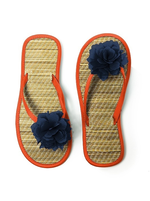 Flower Trimmed Bridesmaid and Bridal Flip Flop in tangerine tango