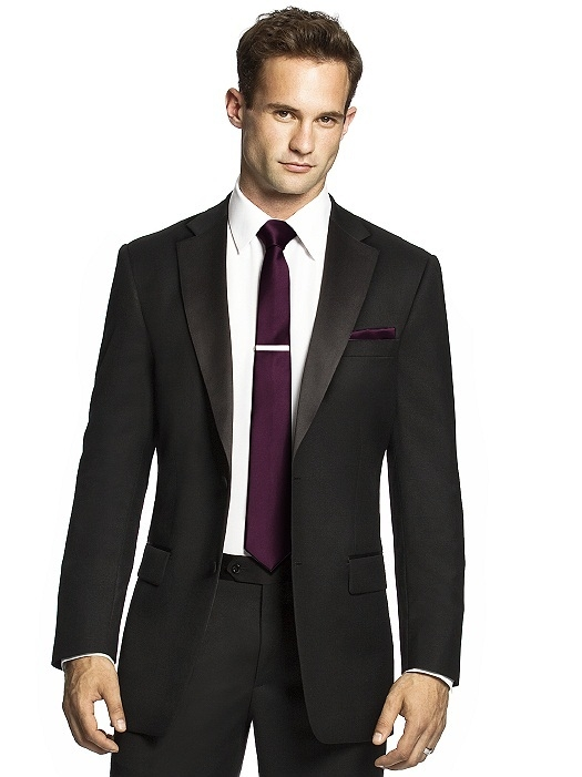 Men's Skinny Tie in Duchess Satin in bordeaux