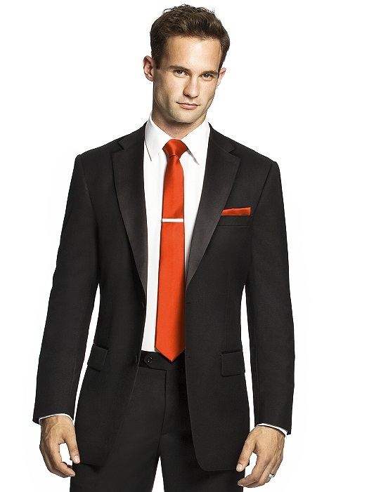 Men's Skinny Tie in Duchess Satin in tangerine tango