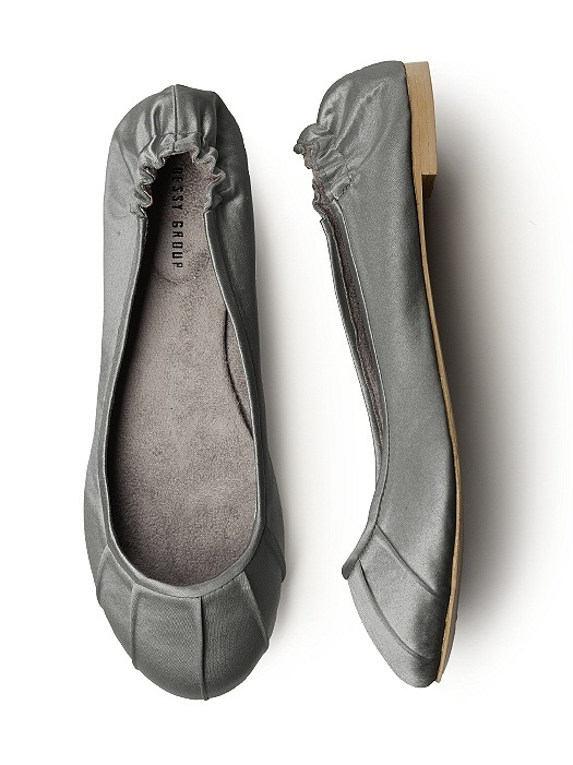 Pleated Satin Ballet Flat in charcoal gray