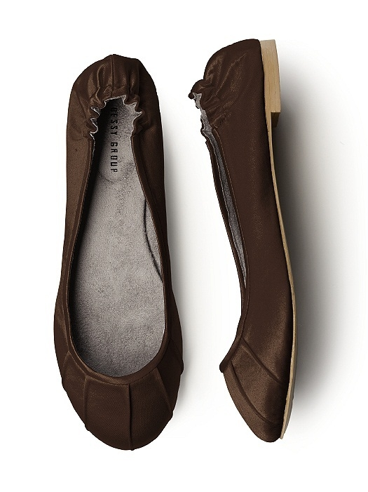 Pleated Satin Ballet Flat in espresso