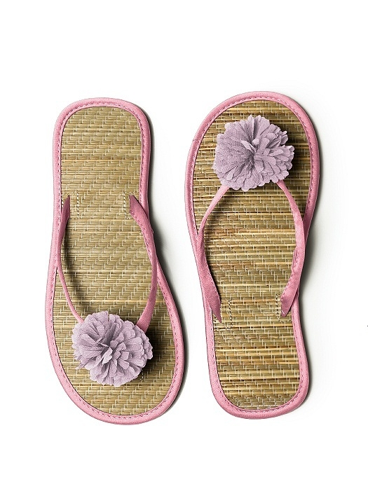 Pom Pom Flower Trimmed Bridesmaid and Bridal Flip Flop in carnation