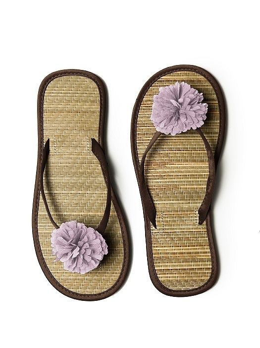 Pom Pom Flower Trimmed Bridesmaid and Bridal Flip Flop in espresso