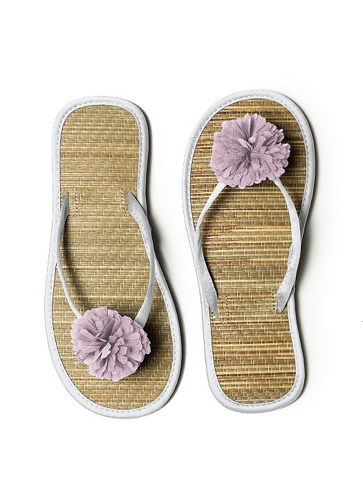 Pom Pom Flower Trimmed Bridesmaid and Bridal Flip Flop in frost