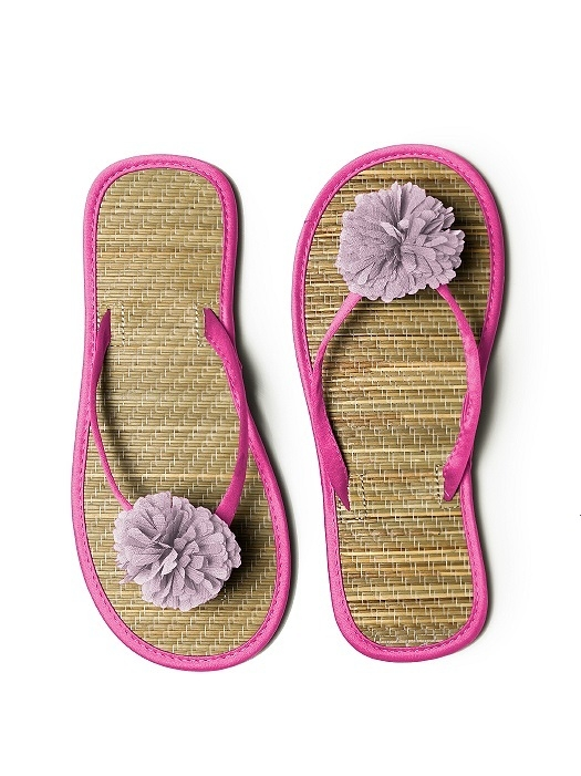 Pom Pom Flower Trimmed Bridesmaid and Bridal Flip Flop in fuchsia