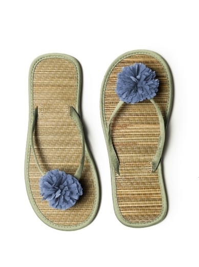 Pom Pom Flower Trimmed Bridesmaid and Bridal Flip Flop in kiwi
