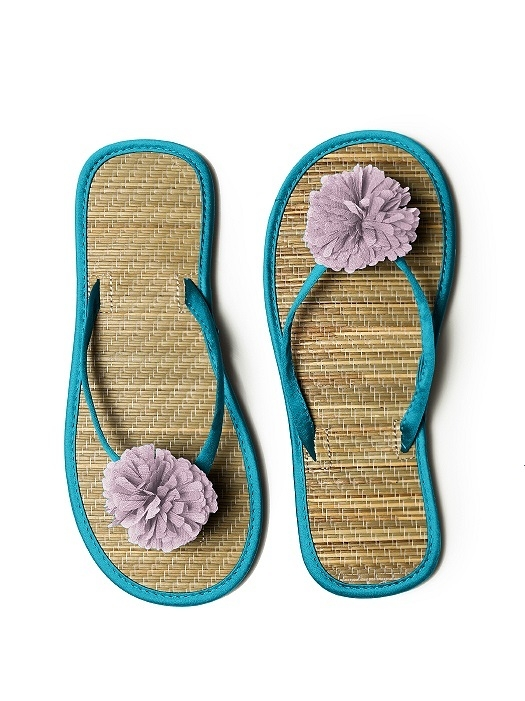 Pom Pom Flower Trimmed Bridesmaid and Bridal Flip Flop in oasis