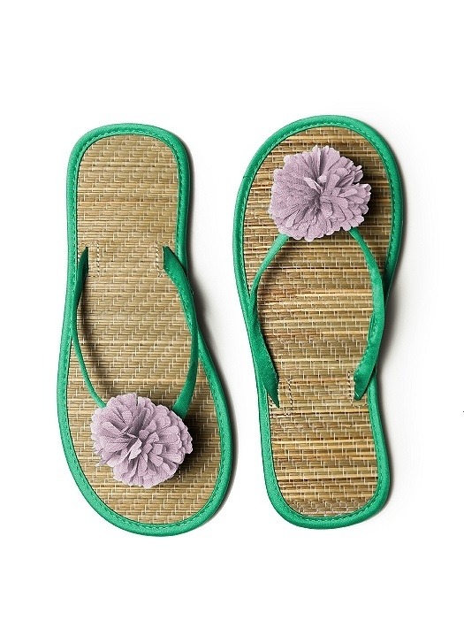 Pom Pom Flower Trimmed Bridesmaid and Bridal Flip Flop in PANTONE Emerald