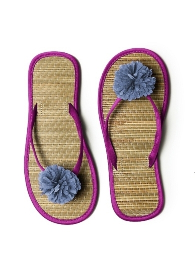 Pom Pom Flower Trimmed Bridesmaid and Bridal Flip Flop in persian plum