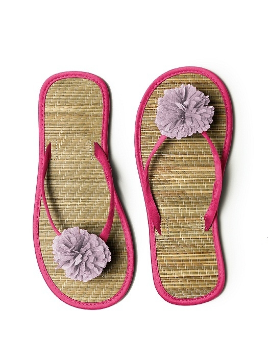 Pom Pom Flower Trimmed Bridesmaid and Bridal Flip Flop in posie