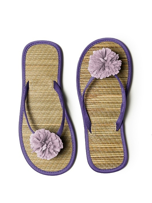 Pom Pom Flower Trimmed Bridesmaid and Bridal Flip Flop in regalia