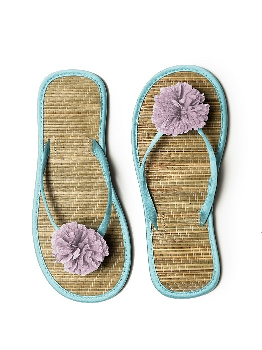 Pom Pom Flower Trimmed Bridesmaid and Bridal Flip Flop in spa