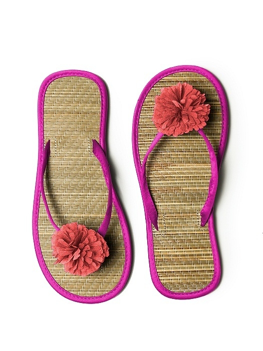 Pom Pom Flower Trimmed Bridesmaid and Bridal Flip Flop in american beauty