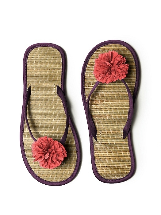 Pom Pom Flower Trimmed Bridesmaid and Bridal Flip Flop in aubergine