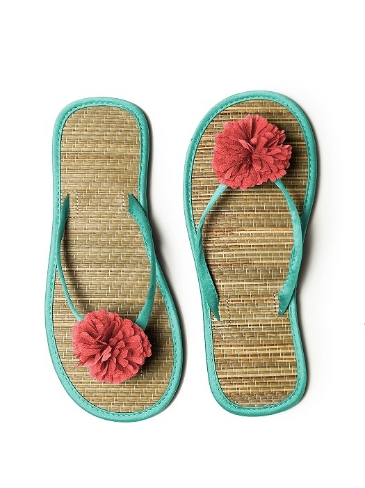 Pom Pom Flower Trimmed Bridesmaid and Bridal Flip Flop in pantone turquoise