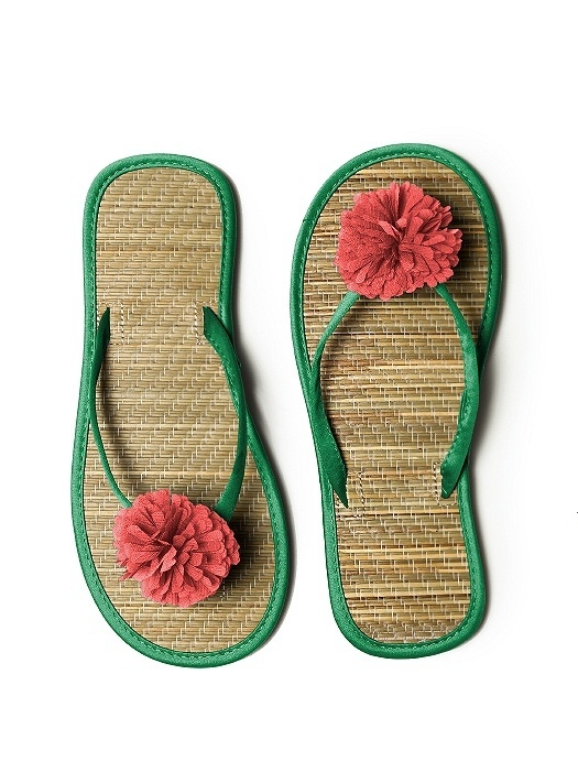 Pom Pom Flower Trimmed Bridesmaid and Bridal Flip Flop in shamrock