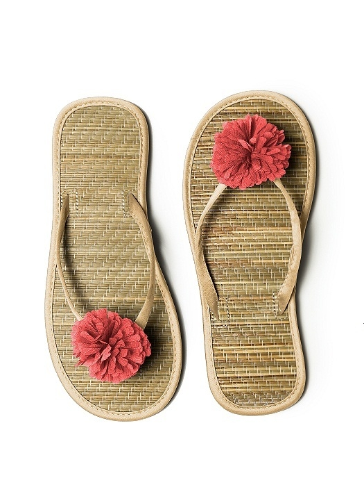 Pom Pom Flower Trimmed Bridesmaid and Bridal Flip Flop in venetian gold