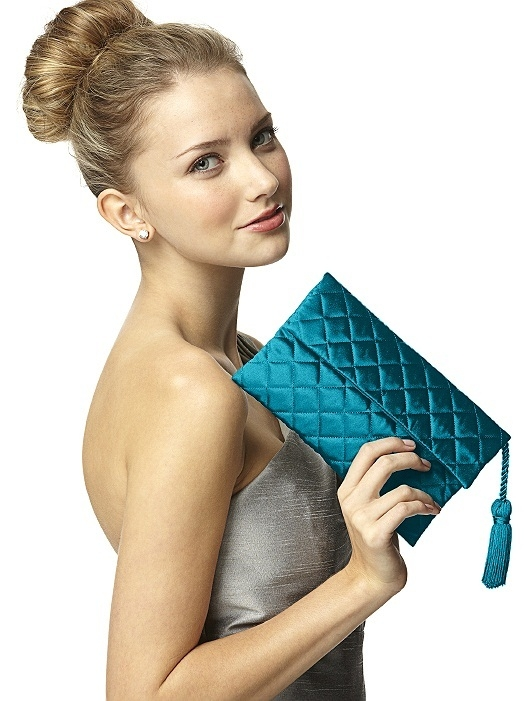 Quilted Envelope Clutch with Tassel Detail in oasis