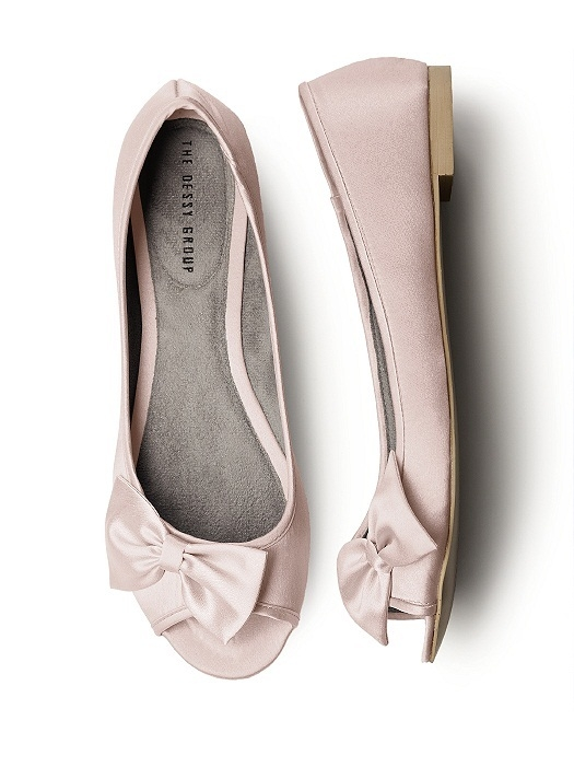Satin Peep Toe Bridal Ballet Flats in cameo