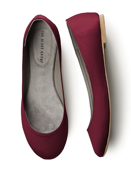 Simple Satin Ballet Flat in burgundy