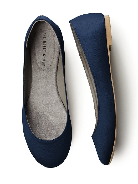 Simple Satin Ballet Flat in midnight