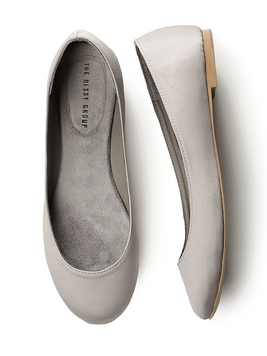 Simple Satin Ballet Flat in oyster