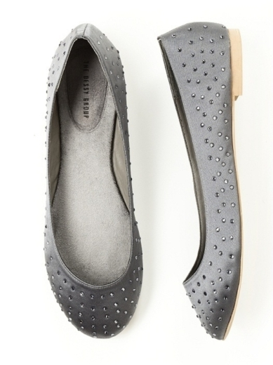 Sparkle Ballet Flat in charcoal gray