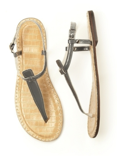T-Strap Sandal in charcoal gray