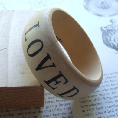 You Are Loved Wooden Bangle Bracelet
