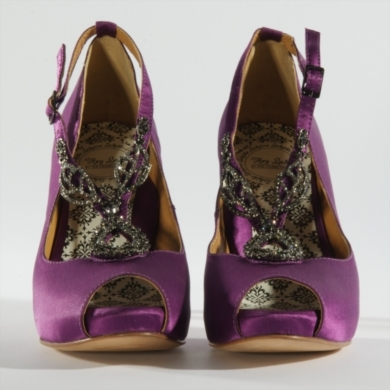"4"" 100% Silk Satin platform peeptoe with jeweled T-strap. Available in White, Royal Purple, Gunmetal"